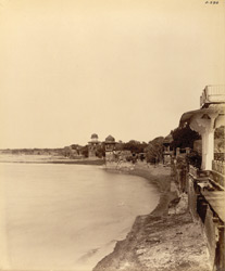 Agra. Ram Bagh. General view of ancient buildings lining the east bank of the Jumna looking up the river from Ram Bagh